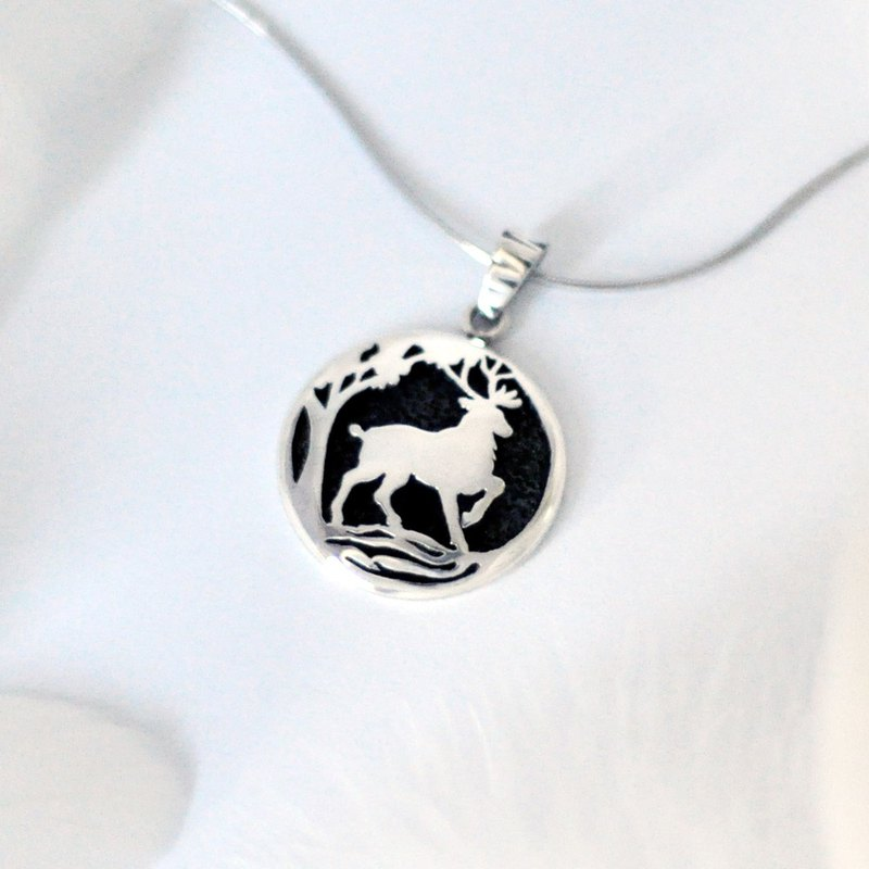 As the deer  / 925 Sterling Silver Necklace-Gift for her