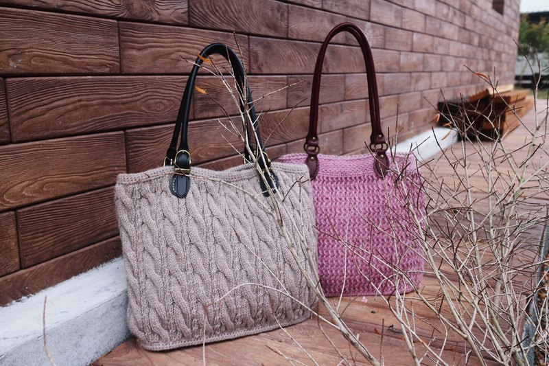 Hand for - light brown milk - hand-woven warm - hand-woven wool yarn twist shoulder bag