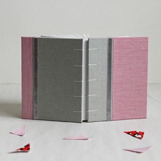 Small Size Coptic Bound Notebook. Pink and Pale Green. Decorated with Ribbon
