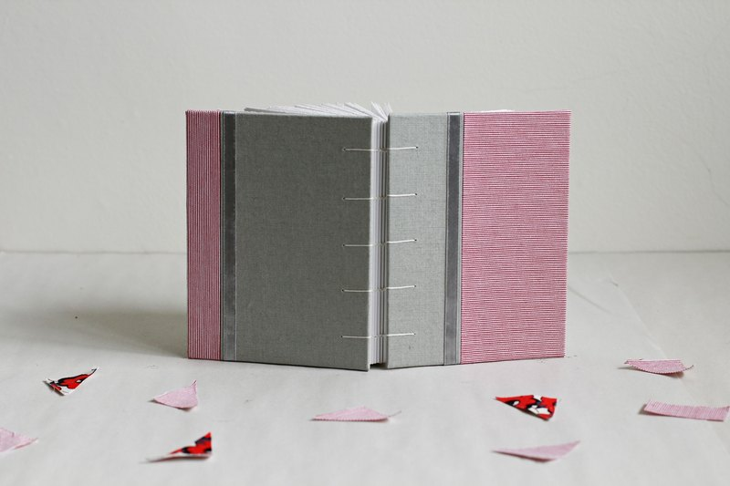 Small Size Hand Bound Notebook - Pink and Pale Green. Decorated with Ribbon
