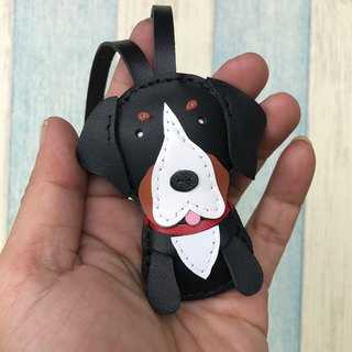 Leatherprince handmade leather Taiwan MIT black cute St. Bernard dog hand-stitched leather strap small size small size