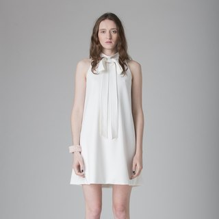 White Simple Bow Dress - Hong Kong Original Brand Lapeewee