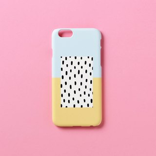 iPhone case - Pastel blue yellow black dot for iPhones - non-glossy M05