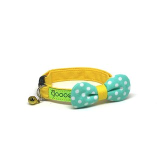 GOOOD Cat Collar | Rounded Bow - Morning Dew | 100% White Dots & Green Cotton Fabric | Safety Breakaway Buckle
