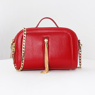 [Hong Kong, Macao and Taiwan] MBS fringed small square bag chain diagonal wave leather large red handbag
