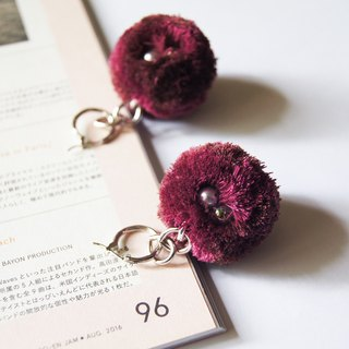 mint neiff I unique hand-stitched pearl fur ball buckle earrings deep red wine / clip