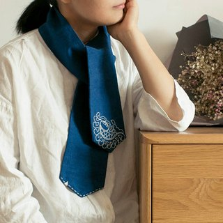 Indigo autumn and winter cotton hand made embroidery blue dyed scarf collar towel wood dyed pure hand-embroidered scarf gift