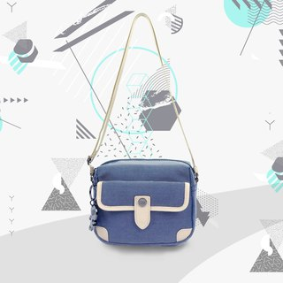 Free shipping I AM-side backpack/shoulder bag - blue/white/beige
