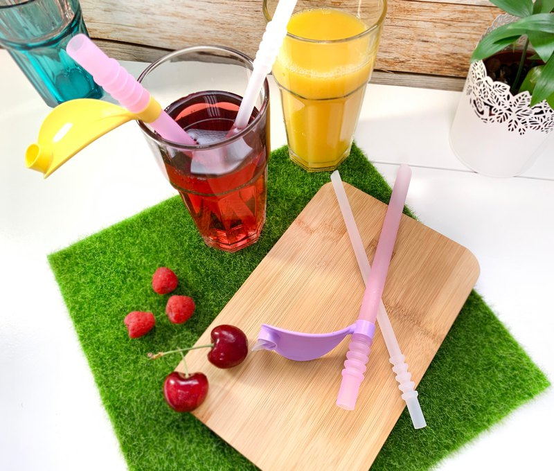 - POKING - Sproutee Silicone Straws - PINK+TRANSPARENT