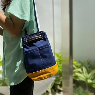 Mini Navy/mustard Canvas Bucket Bag with strap /Leather Handles /Daily use