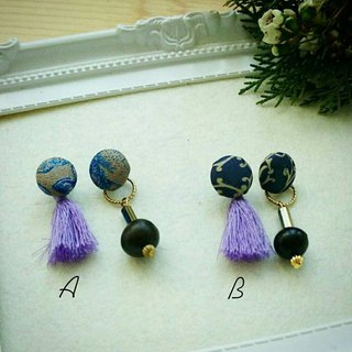 :: Seeds retro combination earrings - purple tassels