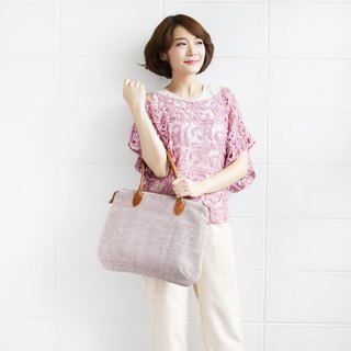 Shoulder Curve Bags Hand Woven and Botanical dyed Cotton Pink Color
