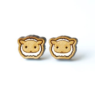 Painted wood earrings-Sheep