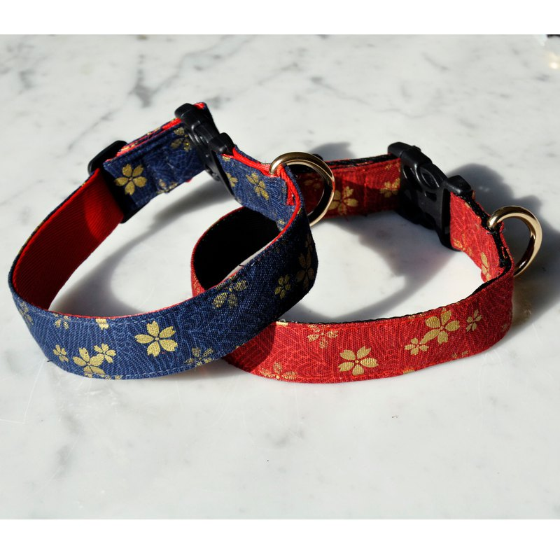 Pet Shining Collar - Blue Cherry Blossom and Red Cherry Dog Collar Collar