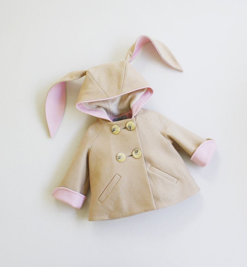 Kids Bunny Coat in Tan and Pink