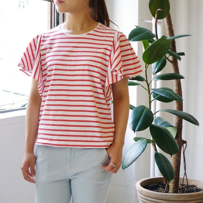 [Made in Japan] Border ruffle sleeve tops salmon red × white