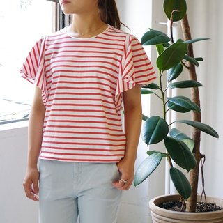 [Made in Japan] Border frill sleeve tops salmon red × white