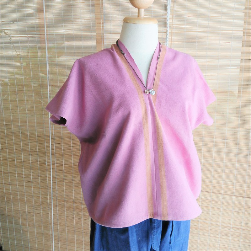 Thai plant dyed & hand-woven tops / pink / line / cotton