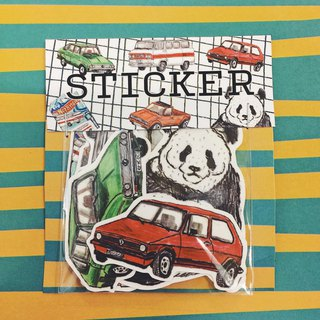 Panda playing in the room with hot wheels matte waterproof sticker set
