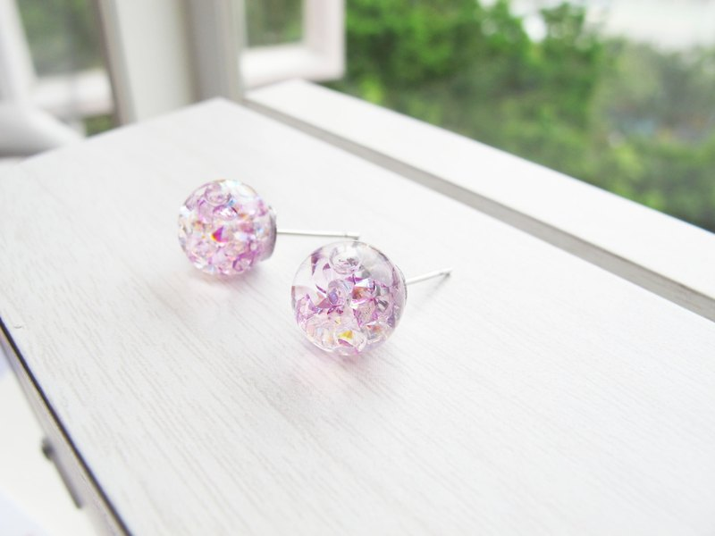 Rosy Garden Lilac purple crystals with water inside glass ball stud earrings
