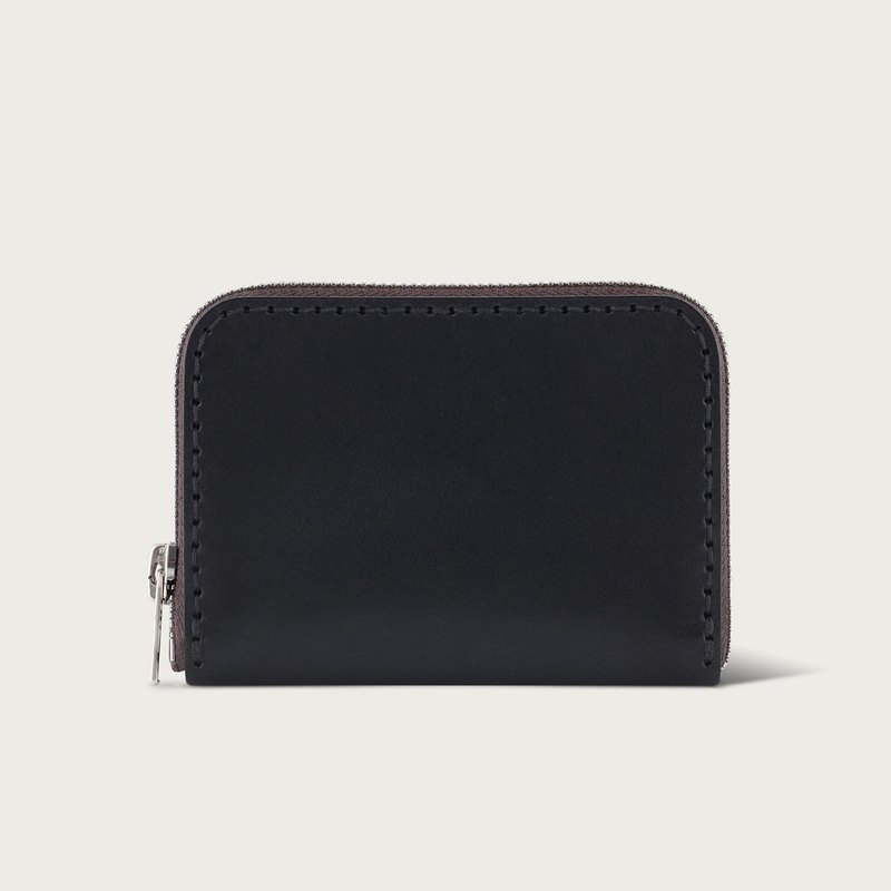 U-shaped zipper short clip / coin purse / wallet - black stone