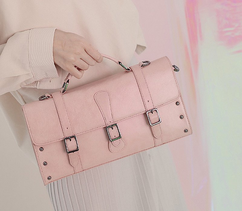 Retro box type portable side back leather dual-use bag pink