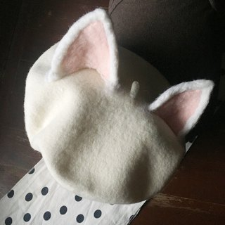 Wool felt  beret - cat ears