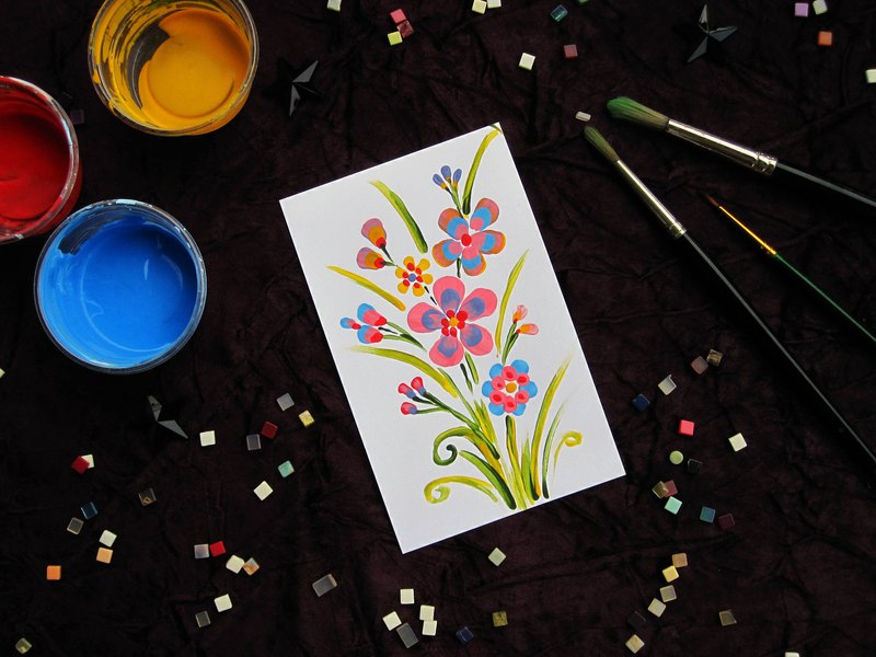 Original_Acrylic painting _Random hand painted flower on white linen card