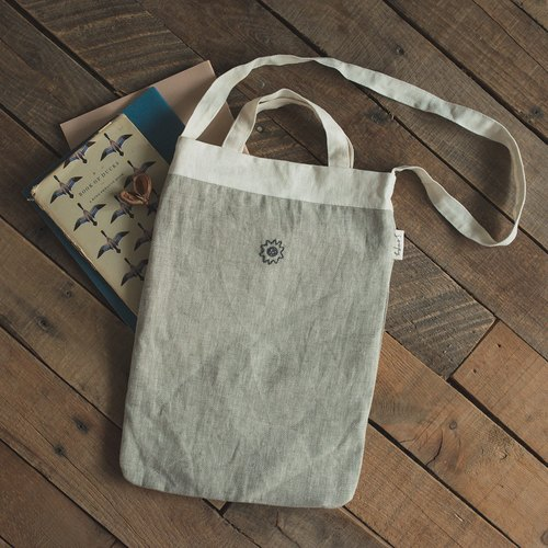 Soft cotton linen bag light gray green