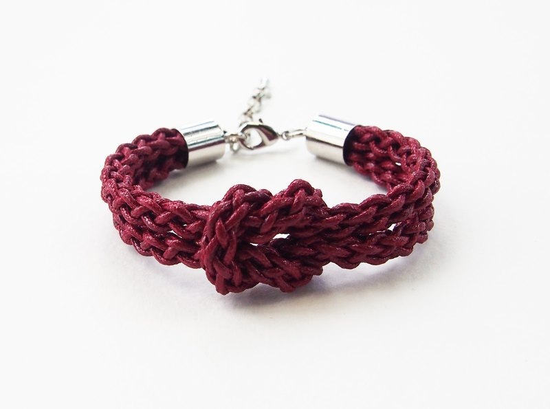 Deep red braided-knot bracelet