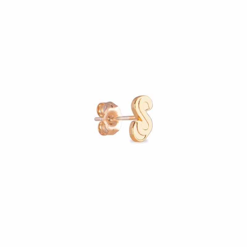 Initial Earrings- Gold plated 925 Sterling Silver Earrings