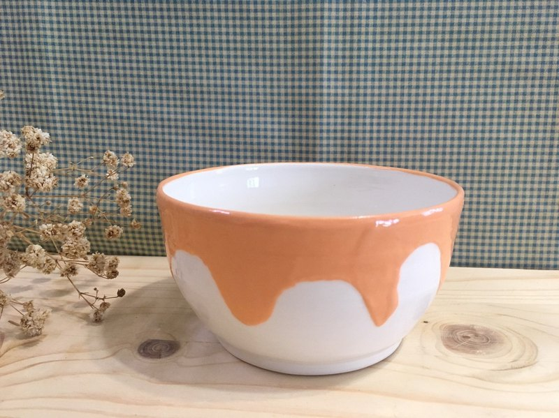 Ice cream icing - handmade pottery bowl - orange