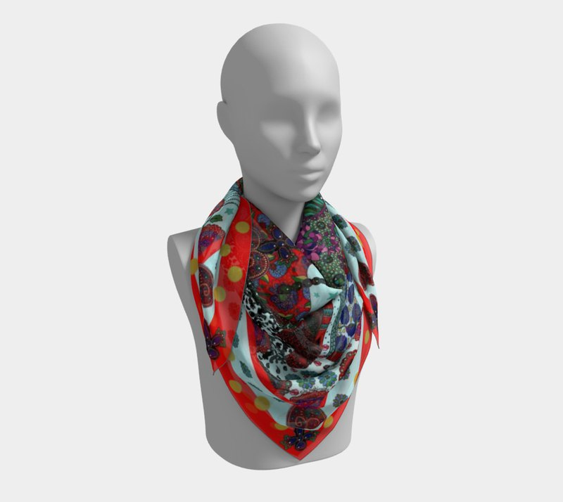 "Large Silk Scarf ""Tzarine""/ 90x90cm/36""x36""/Cute Fashionista/Fashion Accessorie"