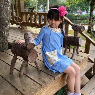 Long version of bamboo wool cap T-children's hand-made T-shirt comfortable non-toxic parent-child equipment