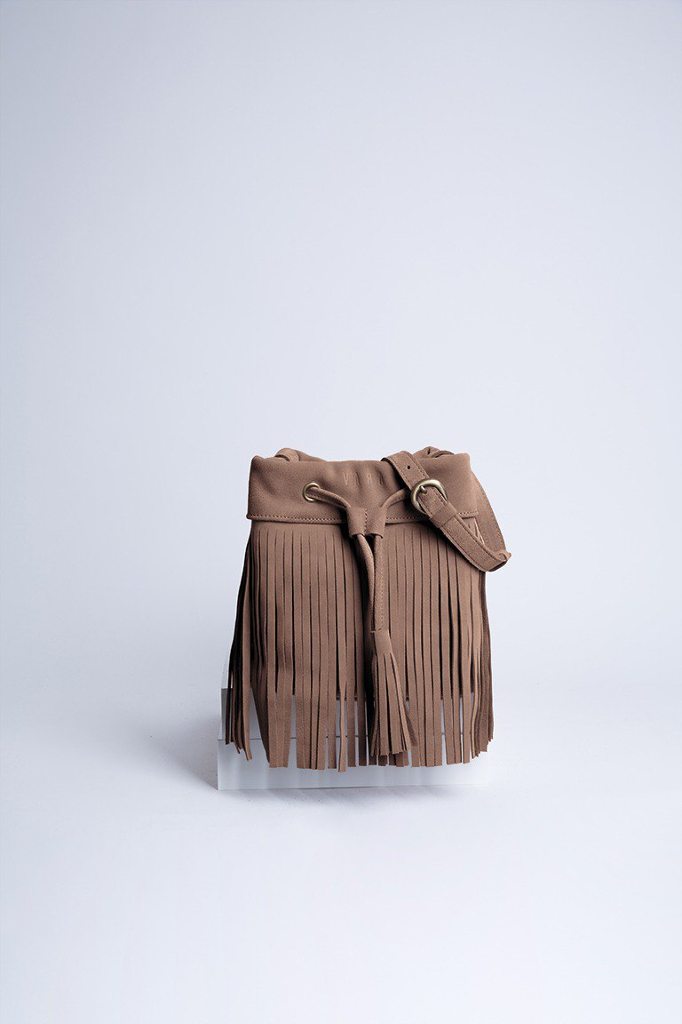 Leather fringe Bag ( Light Brown) : The Undressed Rosy Brown
