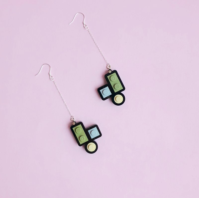 LEGO Long Silver Mini Earrings Black Gray Green Geometric