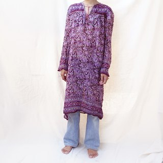 BajuTua / Vintage / Glitter Thin Cotton Indian Flower Long Top
