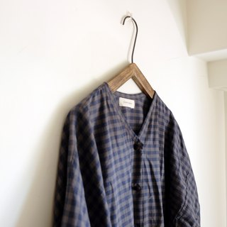 Japanese V-neck blue purple plaid puff sleeve shirt dress