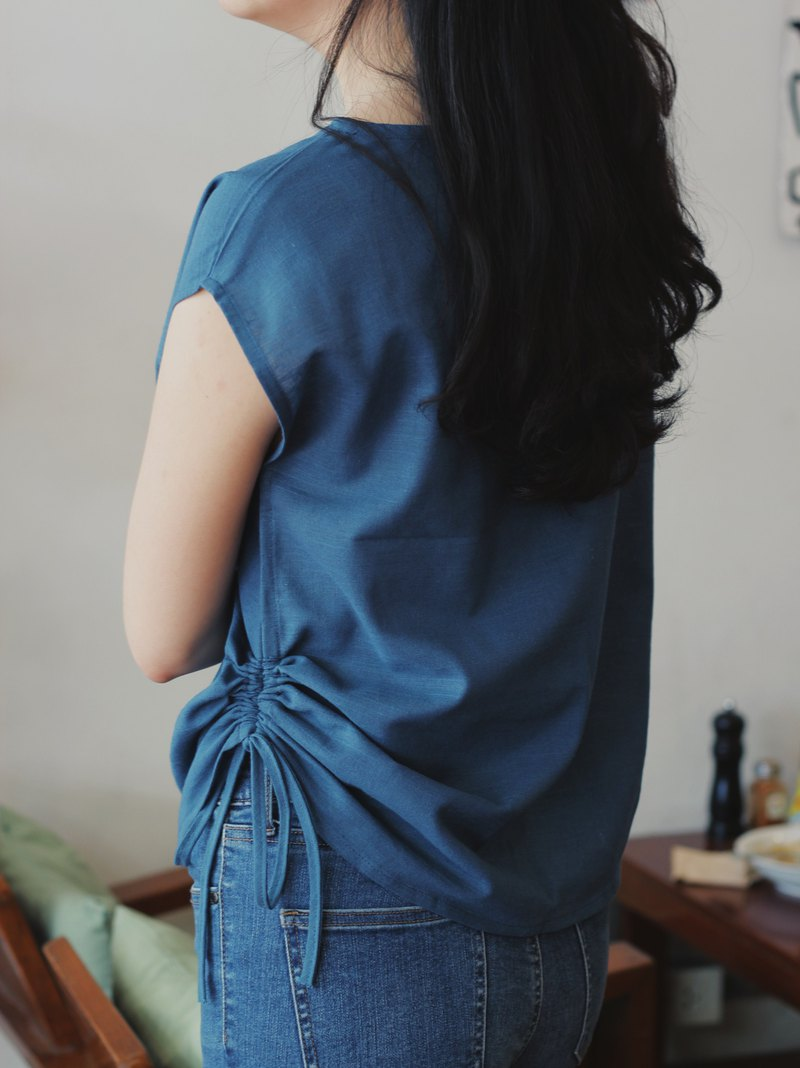 Kem : Indigo/blue cotton side-tie top