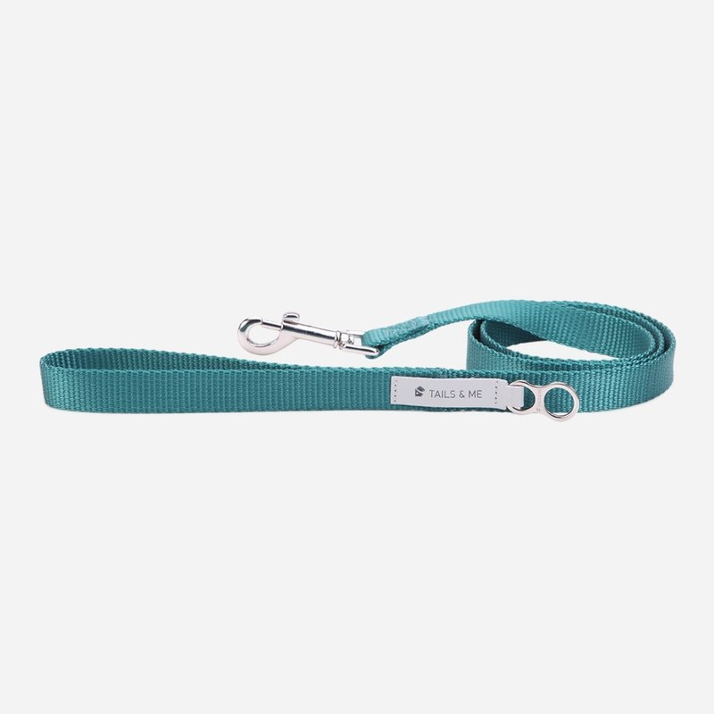 [tail and me] classic nylon belt leash water blue S