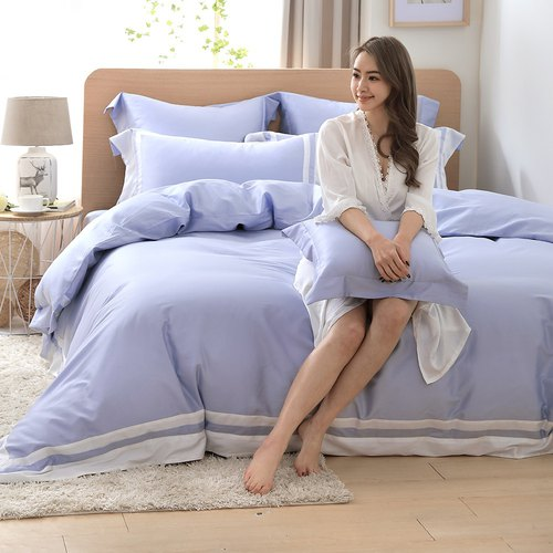 (Double size) Dream Original Tone - Powder Indigo 60 Cotton Multilayer Design Bed Set Four Pieces