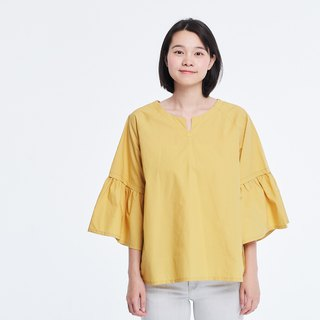 Elsa Ruffle-Sleeve Light Pink Top Lemon Yellow