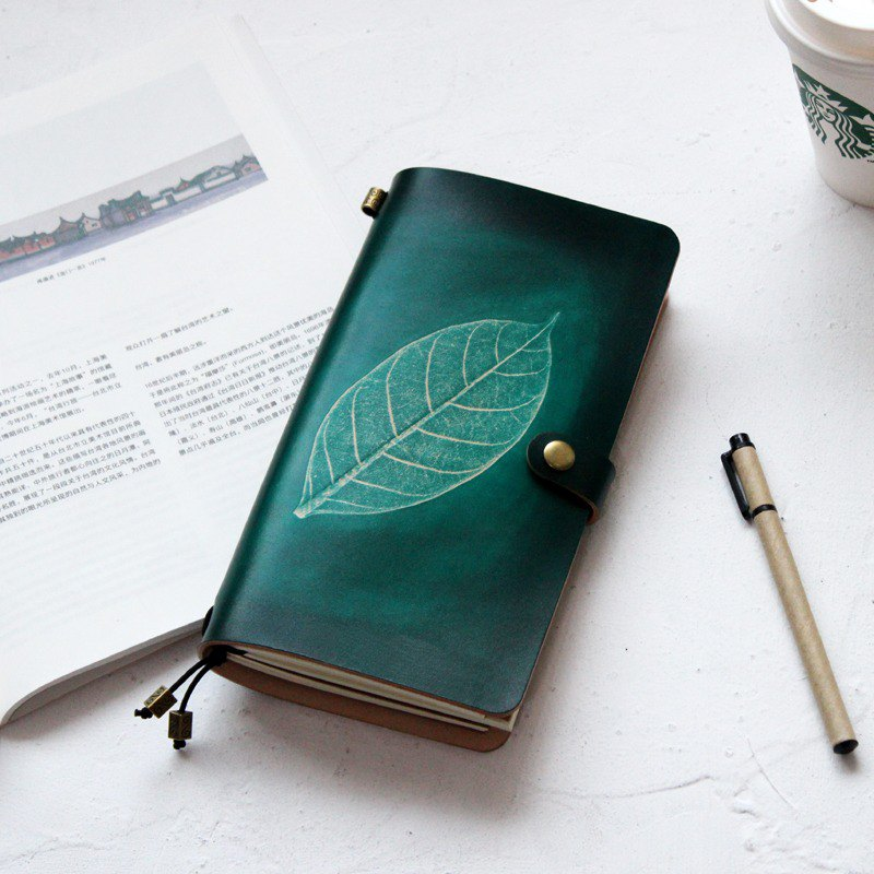 Dark green leaves, first layer, leather, handbook, notebook, diary, TN, travel, customization