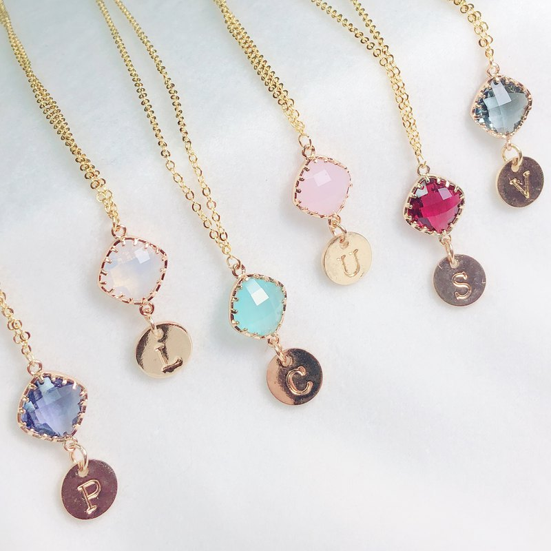 Personalized Initial A to Z Color stone Necklace Birthday Gift Bridesmaid gift
