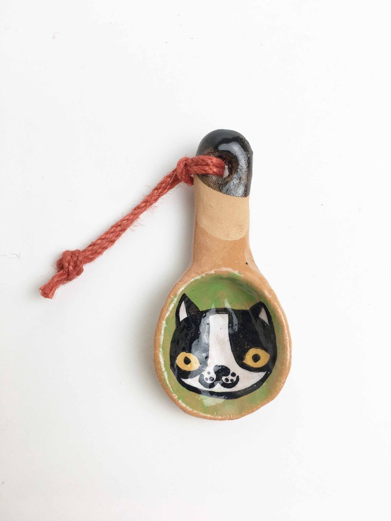 Nice Little Clay handmade small teaspoon _ smile cat 0902-03