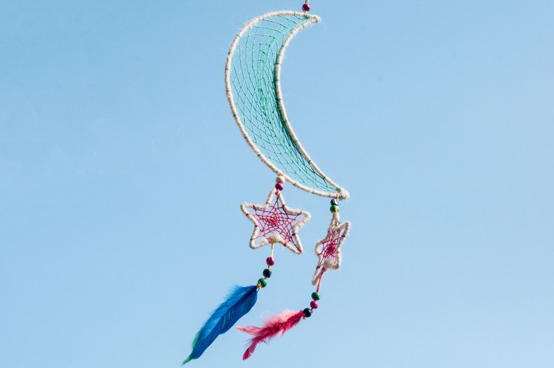 Birthday gift woven cotton and linen rainbow color dream catcher ornaments - starry sky star white stars stars