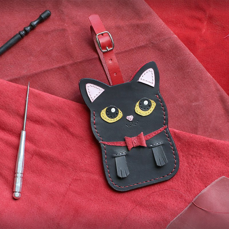 Cat-black cat handmade leather ID card set / leisure card / identification card set