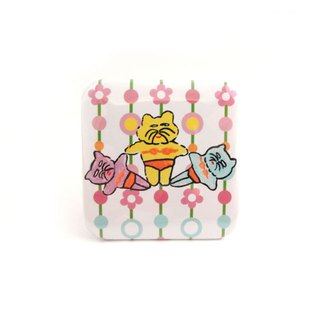 fluffy cat square pin