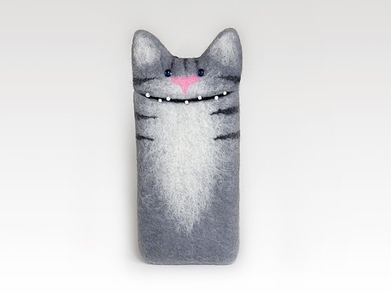 iPhone SE, iPhone 5s / 5c Cat Grey case, felted case.