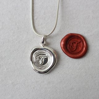 Initial Monogram T / Make a Mark Personalised 925 Silver Wax Seal Necklace